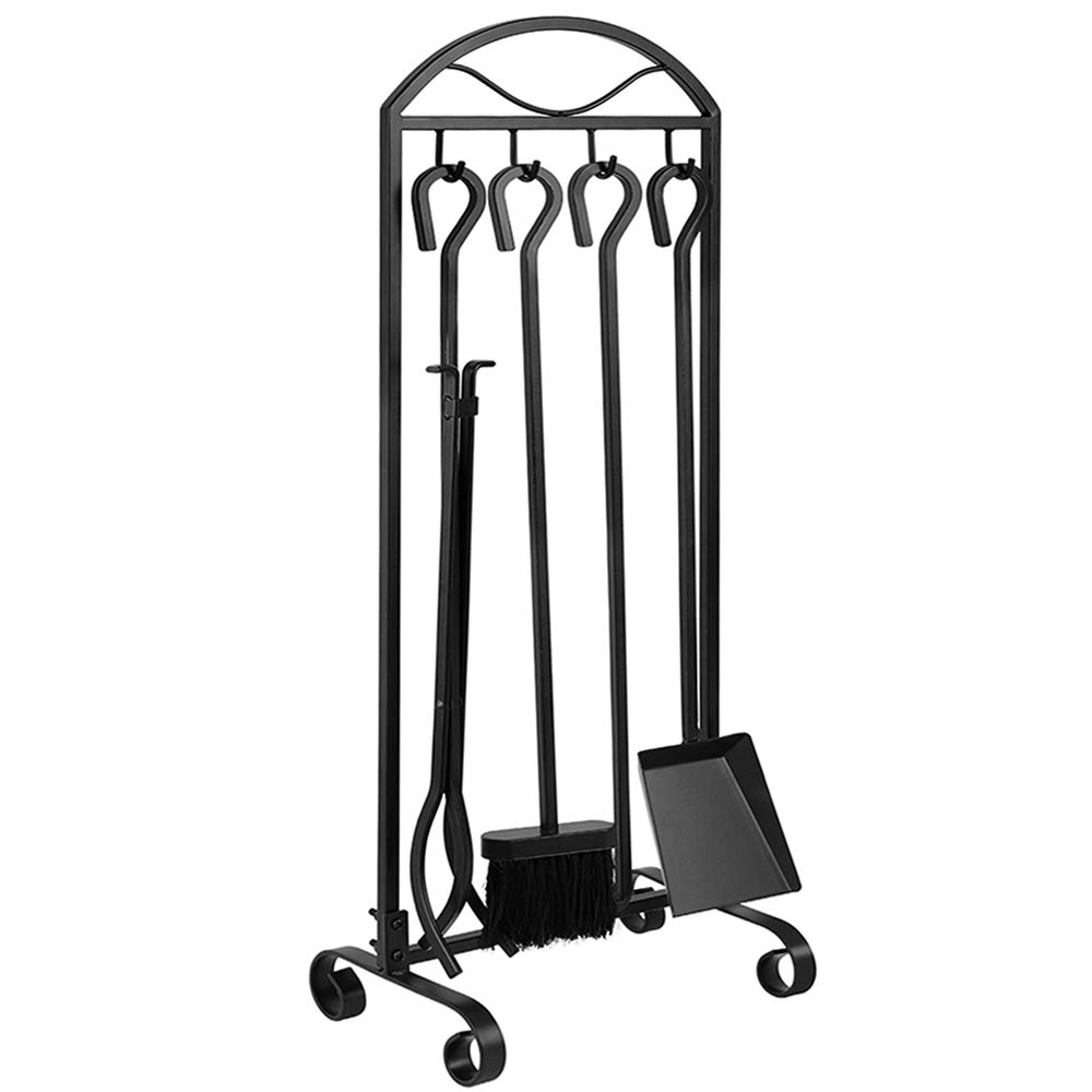 AMAGABELI GARDEN & HOME 5 Pieces Fireplace Wrought Iron Toolset with Decor Holder Black Fireset Pit Stand Fire Place Log Tongs Tools Kit Sets with Handles Wood Stove Accessories by AMAGABELI GARDEN & HOME