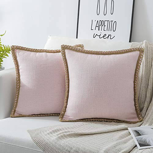 Phantoscope Pack of 2 Farmhouse Burlap Linen Trimmed Tailored Edges Throw Pillow Case Cushion Covers Light Pink 18