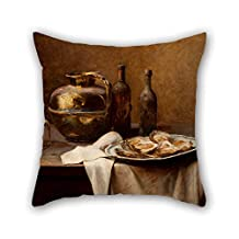 MeiGi Pillow Cases Of Oil Painting Pedro Alexandrino - Oysters And Copperware For Kids Girls Teens Girls Bar Teens Boys Festival 18 X 18 Inches / 45 By 45 Cm(both Sides)