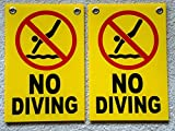 2-Pc Glittering Unique No Diving Symbols Signs Warning Message Beach Coroplast Board Keep Water Allowed Lifeguard On Duty Outdoor Peeing Pond Swimming Sign Pool Poster Size 8'' x 12'' with Grommets