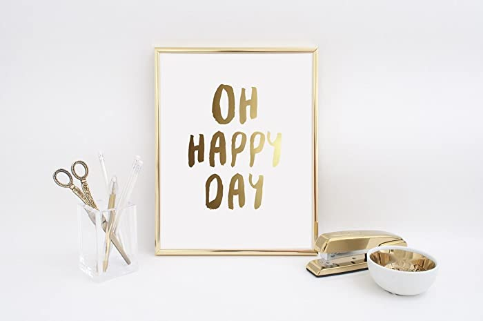 Inspirierend Zitat, Oh Happy Day, Gold Wandkunst, Echtgoldfolie ...