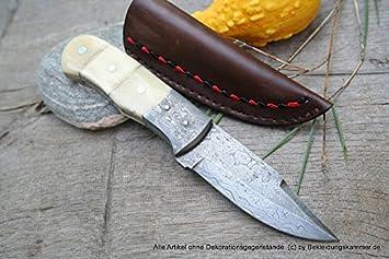 Acero de Damasco cuchillo de caza de Damasco con hueso de ...