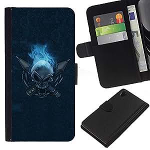 All Phone Most Case / Oferta Especial Cáscara Funda de cuero Monedero Cubierta de proteccion Caso / Wallet Case for Sony Xperia Z2 D6502 // Flaming Skull