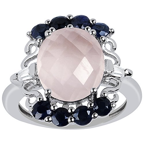 Quartz Sapphire Rose - Orchid Jewelry Oval Shaped Checkerboard Rose Quartz, Sapphire & Cz 925 Sterling Silver Ring for Women and Girls, Best Gift, Perfect for Engagement, Anniversary, Mother Day, Box (4.98 Cttw, 12x10 MM)