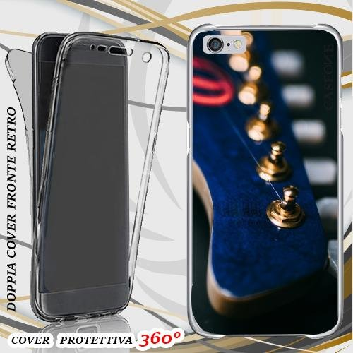 CUSTODIA COVER CASE GUITAR BLU CHITARRA PER IPHONE 6 PLUS FRONT BACK
