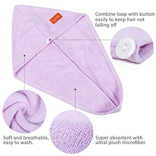 Lovife 3 Pack Microfiber Hair Towel Wrap 11inch X 26 inch Quick Drying Absorbent Hair Towels Turban Long Curly Hair Anti…