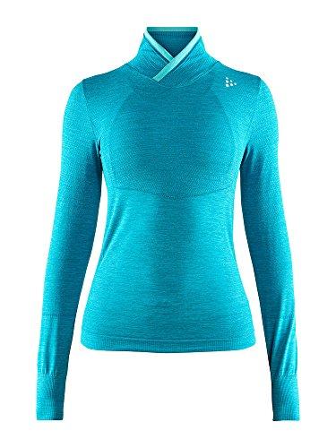 Craft Sportswear Womens Fuseknit Comfort Seamless Wrap Neck Long Sleeve Base Layer Shirt, Zen Melange, Medium