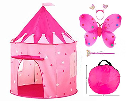4pc Princess Castle Play Tent for girls toys Best Christmas Birthday Gift & Butterfly Fairy Dress Up Costume - Your kids will enjoy this tent/house toy for Indoor & Outdoor - Butterfly Play Tent