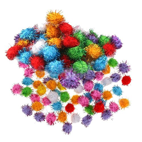 [DASARA 170pcs Mixed 15/35mm Glitter Tinsel Pompom Balls Pom Pom Ball Cat Puppy Toys] (Diy Dog Ninja Turtle Costume)