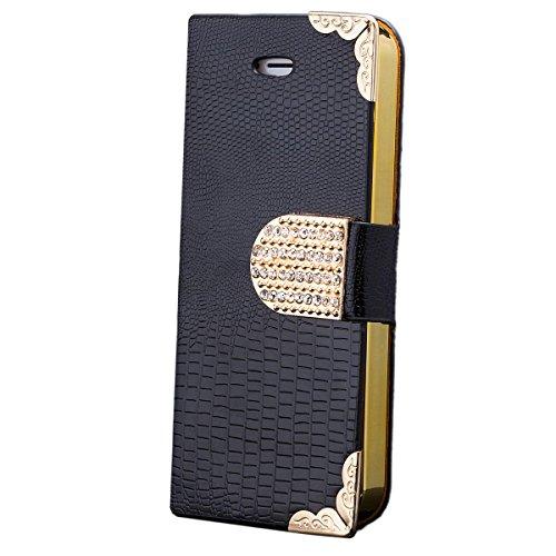 iCues - Apple iPhone SE / 5S / 5 - Sac strass crocodile noir - [Protecteur d'écran, y compris] paillettes paillettes strass crocodile luxe bling dames femmes filles en cuir Chrome - faux livre charniè