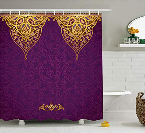 Ambesonne Purple Shower Curtain, East Oriental Royal Palace Patterns with Bohemian Style Art Traditional Wedding, Fabric Bathroom Decor Set with Hooks, 84 Inches Extra Long, Purple Yellow