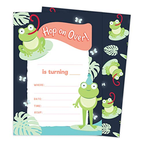 Frog Style 2 Happy Birthday Invitations Invite Cards (10 Count) With Envelopes Boys Girls Kids Party (10ct)
