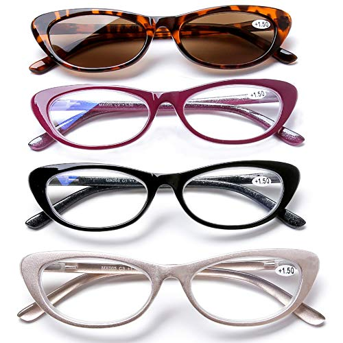 4 Pack Women Vintage Cat Eye Blue Light Filter Computer Reading Glasses Spring Hinge with Leopard Print Sun Readers UV400 Protection +1.5