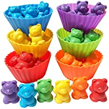 Jumbo Sorting and Counting Bears with Stacking Cups + Activity eBook | Rainbow Matching Game | Montessori Kids Toys Educational Math Manipulatives | 54 pc with Toy Storage
