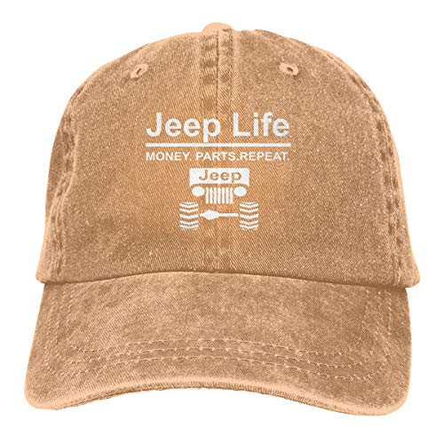Jeep Life Money Parts Repeat Washed Denim Hat Unisex Dad Baseball Caps