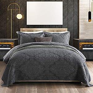 Gravan Bedspread Quilt Set 3-Piece Oversized Quilted Coverlet Set with Shams, Grey Embossed, Queen