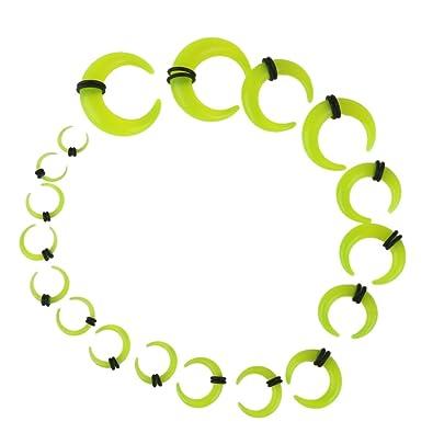 9 Pares Dilatador Expansor Forma Cuerno Túnel Acrílico para Oreja Oído (verde)