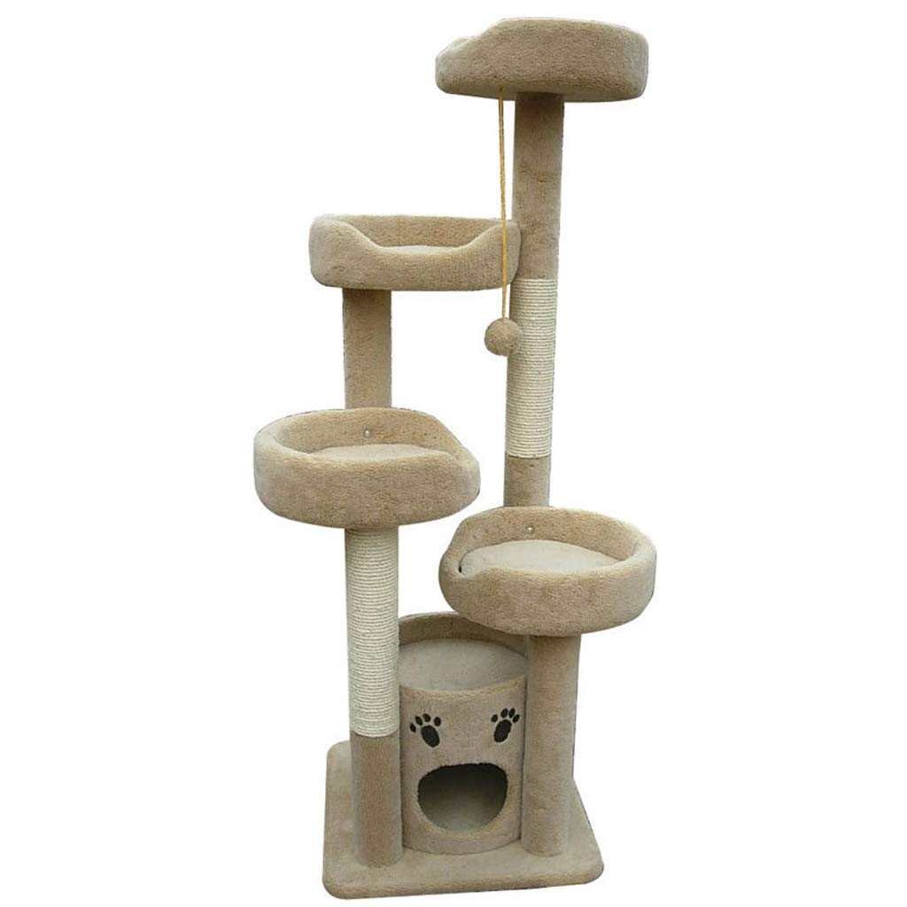 Cat Trees Cat Tree, Short Plush Natural sisal cat Tree Tower Scratch-Resistant Durable wear-Resistant cat Climbing Frame A1 Cat Houses