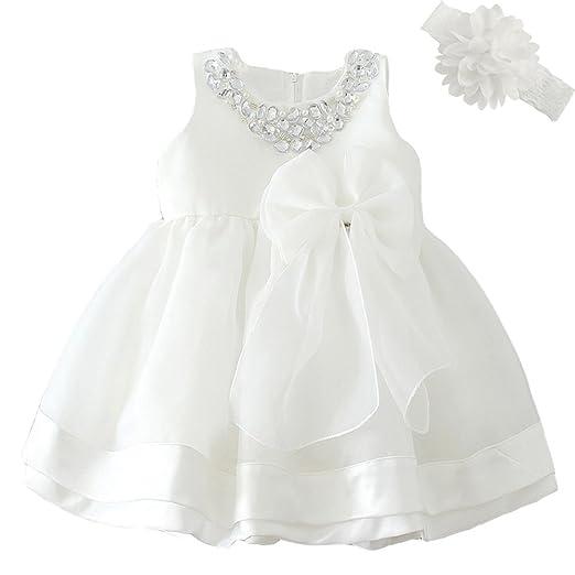 3d3e31ac7 Dream Rover Baby Girl Dress Princess Wedding Formal Cristening Baptism Dress  White 12M/10-