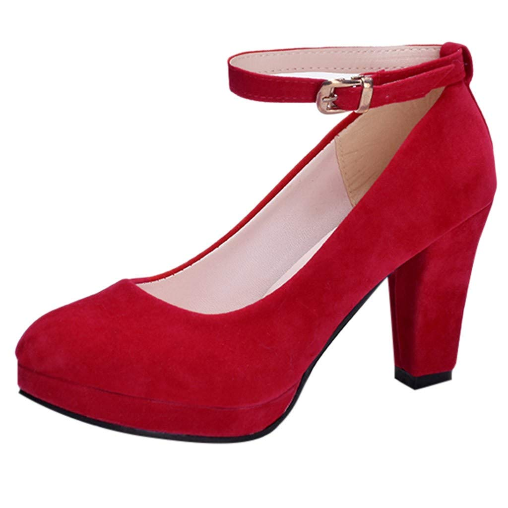 fed809c24ccdf Amazon.com: Sunhusing Ladies Round Head High Heels Single Shoes ...
