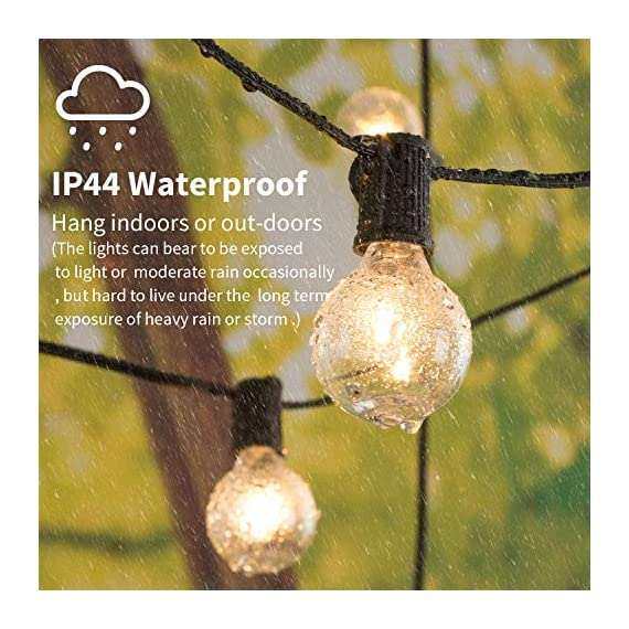 """Brightown LED G40 Outdoor String Lights 50FT Patio Lights with 51 LED Shatterproof Bulbs(1 Spare), Weatherproof Commercial Hanging Lights for Backyard Bistro Deck Party Decor, E12 Socket, 2700K, Black - SHATTERPROOF&SAFE: This led G40 bulbs made of plastic, much shatterproof than traditional glass bulb type. Low working temperature, and safe for touch. Multi-STRANDS CONNECTABLE: 6"""" lead with male plug, 12"""" spacing between bulbs, 6"""" tail with female connector. Total Length 50 Feet. Globe LED string lights can end to end connectable up to 7 strands(=350FT), feel free to customize your arrangements. ENERGY SAVING: Each LED bulb 0.4w (= 5W Tradition Bulbs), much lower wattage will save more energy for you, but the lifespan is 10-20 times of the traditional tungsten bulb. Candelabra (E12) socket base. - patio, outdoor-lights, outdoor-decor - 51gvrjT3ziL. SS570  -"""