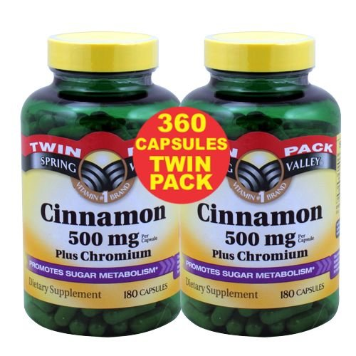Spring Valley - Cannelle 500 mg et de chrome, Twin Pack 2 bouteilles de 180 capsules