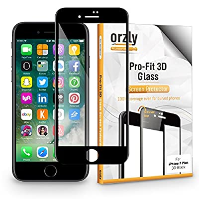 Orzly - 3D PRO FIT GLASS SCREEN for iPhone 7 PLUS & iPhone 8 PLUS (Select Rim Color of Screen Protector Below…)