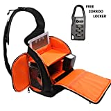 ZORROO High Quality Professional DSLR Camera SLING BAG with Rain Cover Waterproof Camera Bag for Canon, Nikon, Sony, Olympus, Samsung, Panasonic, Pentax models. (BLACK / ORANGE)