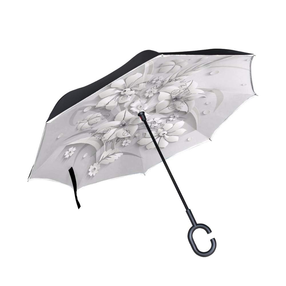 LoLa Ling 3D Flower Effect Reverse Umbrella Windproof Reverse Folding Double Layer Inverted Release Hands Not Wet Car umbrella doublelayerumbrella doublelayerinvertedumbrella