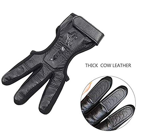 SEAKCOIK Genuine Leather Three Finger Archery Gloves Hand Guard Protective Archery Gloves Black