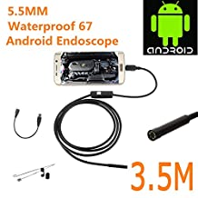 Blupow Android OTG Endoscope 5mm Mini Waterproof Borescope Inspection Tube Pipe Camera 3.5M for Samsung Galaxy S5 S6 Note 2 3 4