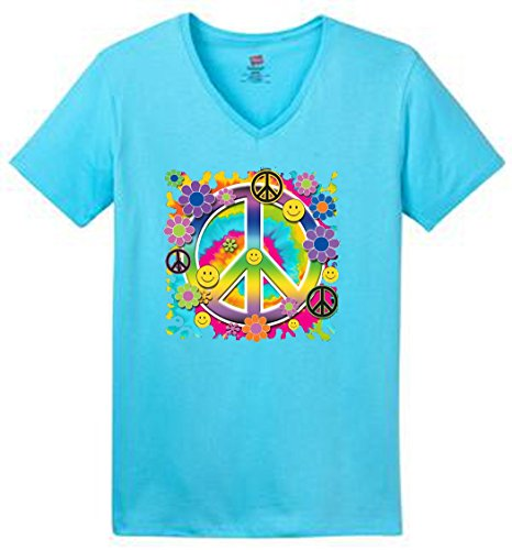 Psycadelic Peace Sign Flowers Smiley Faces Womens 100% Cotton V Neck T (Blue Peace Sign Womens T-shirt)