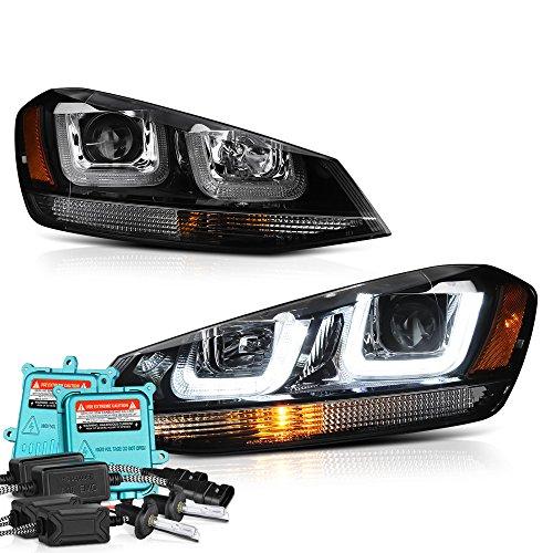 VIPMOTOZ OLED Neon Tube Black Projector Headlight Lamp Assembly For 2015-2017 Volkwagen MK7 VW Golf GTI Halogen Model - Built-In 55 Watts Xenon HID LED Low Beam, Driver & Passenger Side ()