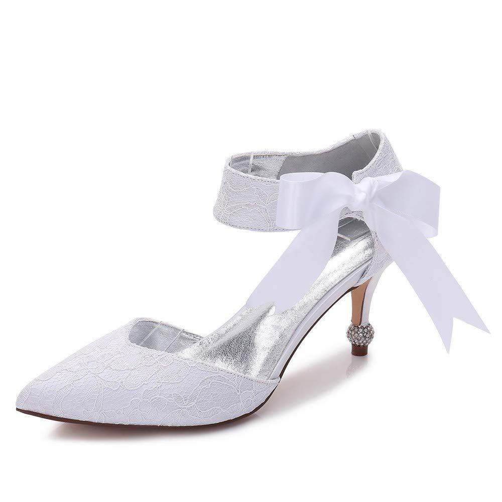 Zxstz Damenschuhe Satin Comfort Basic Pump Ankle Strap Brautschuhe Kitten Heel Kegel Ferse Low Heel