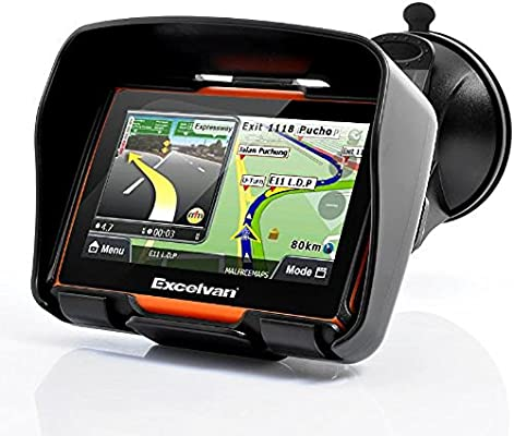 Excelvan - Navegador GPS Para Coche y Motos (Pantalla TFT 4.3, Windows CE 6.0, Impermeable IPX7, Bluetooth, 8Gb, Mapas Gratuitos para Descargar, ...