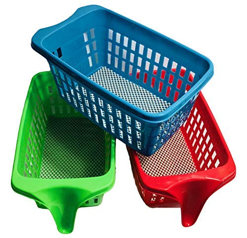 (Storage Basket for Kitchen, Pantry, Cabinets with Single-End Handles (Assorted Colors, Set of 3 ))