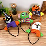 AIMIUL 4 Pack Halloween Headband with Boppers for Kids Pumpkin Cat Ghost Zombie Headpiece Costumes Accessories for Kids Girls Boys for Halloween Parties Halloween Dress