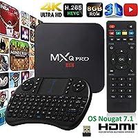 MXQPRO Android 7.1 TV Box Smart MXQ Pro Mini PC 64 Bit Amlogic S905W with Mini Wireless Keyboard Quad Core 1G/8G HDMI WiFi Media Center Miracast HD