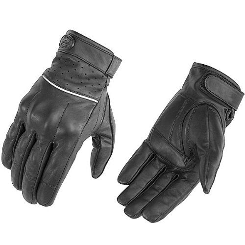 River Road Firestone Leather Motorcycle Gloves Small Matte Black