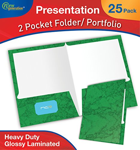 New Generation 2 Pocket Presentation Folder/Portfolio Heavy Duty Paper UV Glossy Laminated, 25 Folders Per Pack in a Display Box, Marble Green