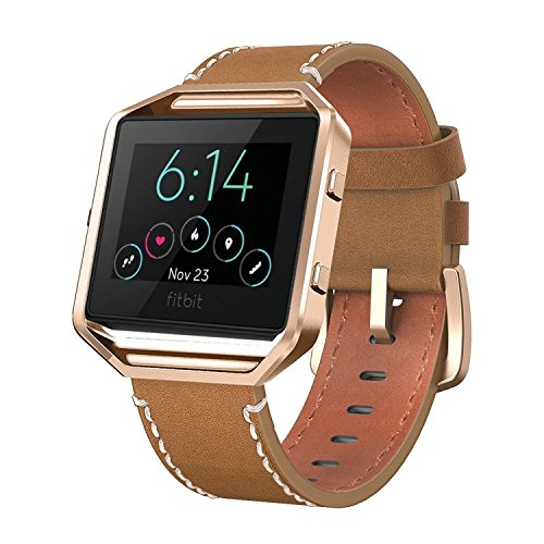 Andyou for Fitbit Blaze Bands Leather with Frame Small Large (5-8.2), Genuine Leather Replacement Band with Silver/Rose Gold/Black Metal Frame for Fitbit Blaze Women Men, Black, Brown, White, Pink,