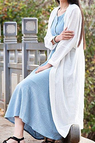 Lino Manica Vintage Cardigan yulinge White E Outwear Lunga Le Donne Cotone Di wSwq6XFv0