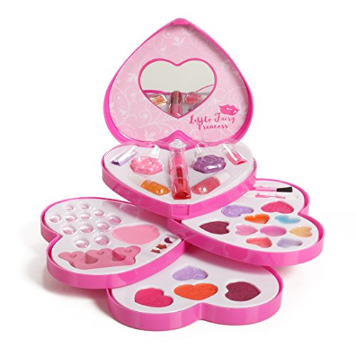 IQ Toys Little Fairy Princess Washable Makeup and Nail Heart Palette with Mirror ()