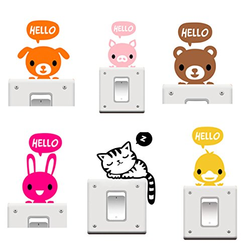 Buytra 6 Pieces Cute Animals Wall Stickers Switch Decor Decals Art Mural Baby Nursery Room,Pig Rabbit Duck Bear Cat Dog
