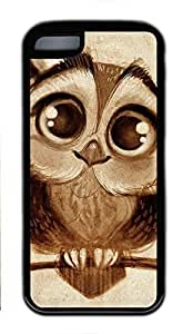 Soft Case Shell for iPhone 5C Covered with Cute Owl,Customized Black TPU Cover Skin for iPhone 5C,Cute iPhone 5C Case