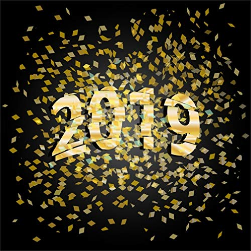 CSFOTO 5x5ft Background Confetti 2019 Happy New Year Photography Backdrop New Year Party Celebration Best Wishes New Year Blessing Carnival Child Adult Portrait Photo Studio Props Polyester Wallpaper