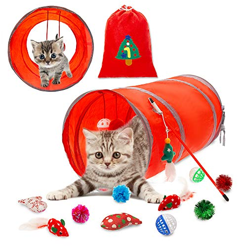 PUPTECK 12 pcs Christmas Interactive Cat Toys – Valuable Set of 2 Feather Mouse, 18.89 inch Long Cat Tunnel, 6 Ball Toy…