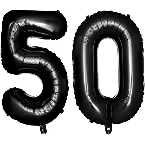 NUOLUX 40 Black Number Balloons 50th Jumbo Foil Balloon for Birthday Anniversary Party Decoration