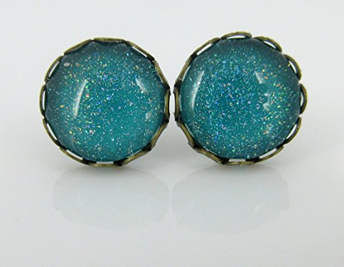 [Antiqued Gold-tone Teal Blue Green Holographic Glitter Glass Stud Earrings Hand-painted 12mm] (Simple Cheer Dance Costumes)