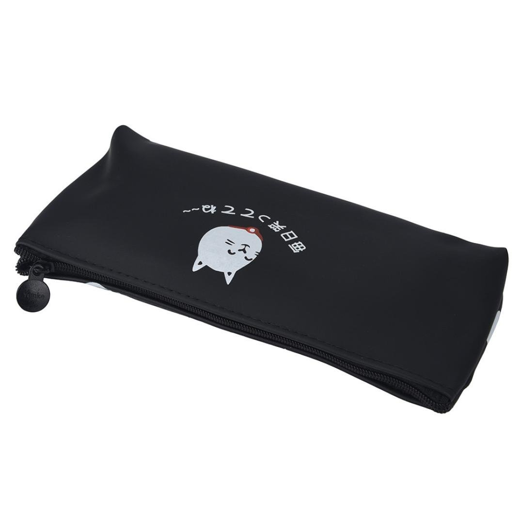 Tpingfe Cats Silicone Gift School Pen Case Cosmetic Makeup Storage Bag Purse (Black) by Tpingfe (Image #2)